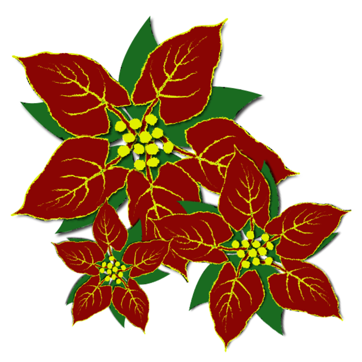 Red and green poinsettias clip art.