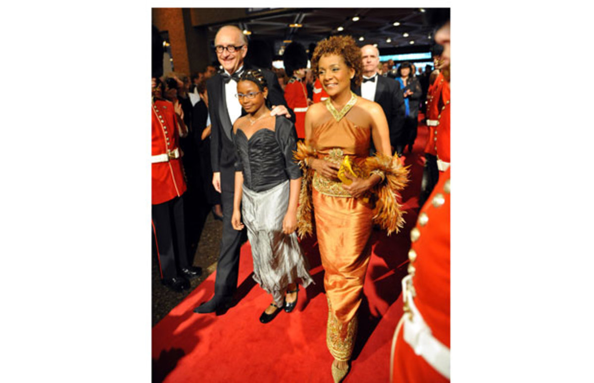 Michalle Jean along with her family Jean-Daniel Lafond and daughter Marie-Eden arrive Saturday night at the National Arts Centre for the Governor General's Performing Arts Awards Gala, 01 May 2010