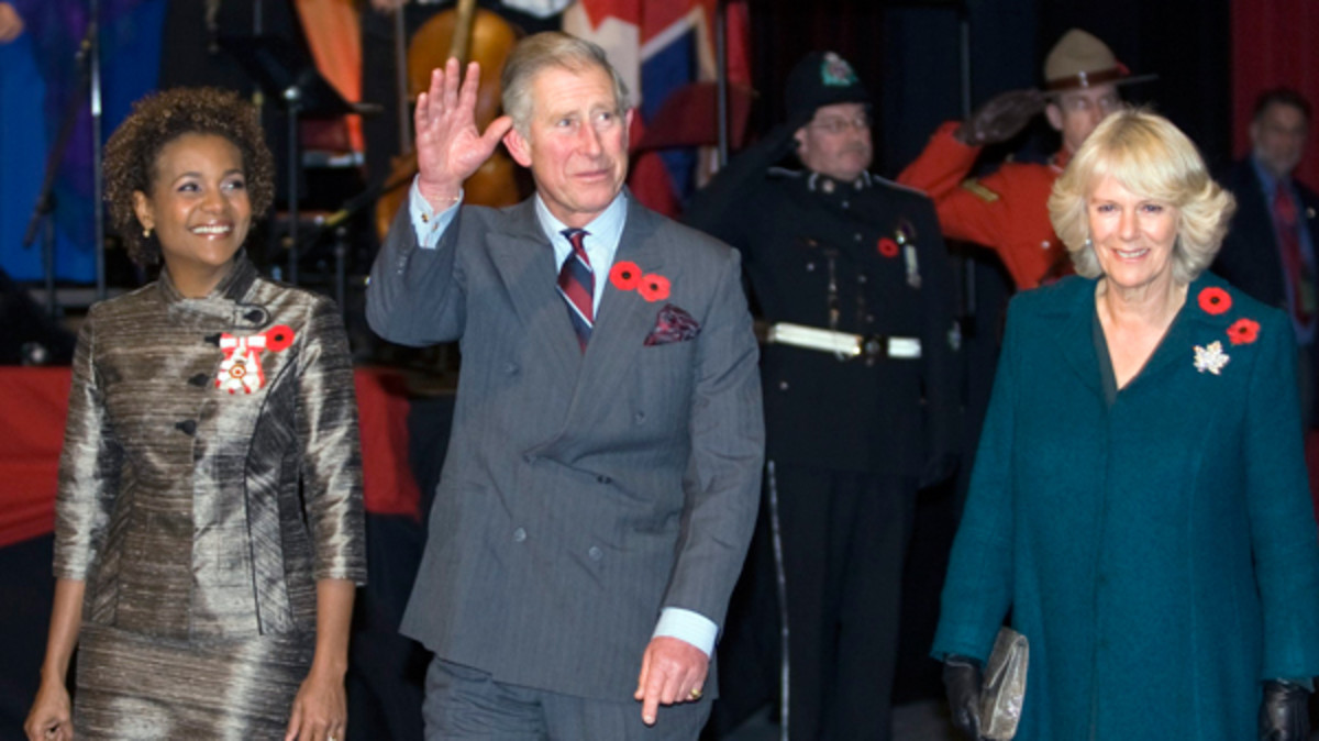 Prince Charles, the Duchess of Cornwall, and Gov. Gen. Michaelle Jean arrive for welcoming ceremonies St. John's, N.L., on Monday, Nov. 2, 2009