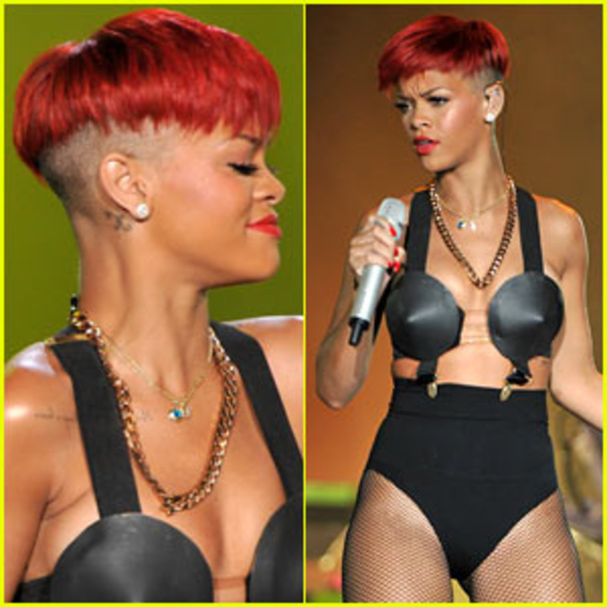 Here's Ri-Ri after the Chris Brown Drama wow. She re-emerged onto the scene with shaved sides and fiery red hair.
