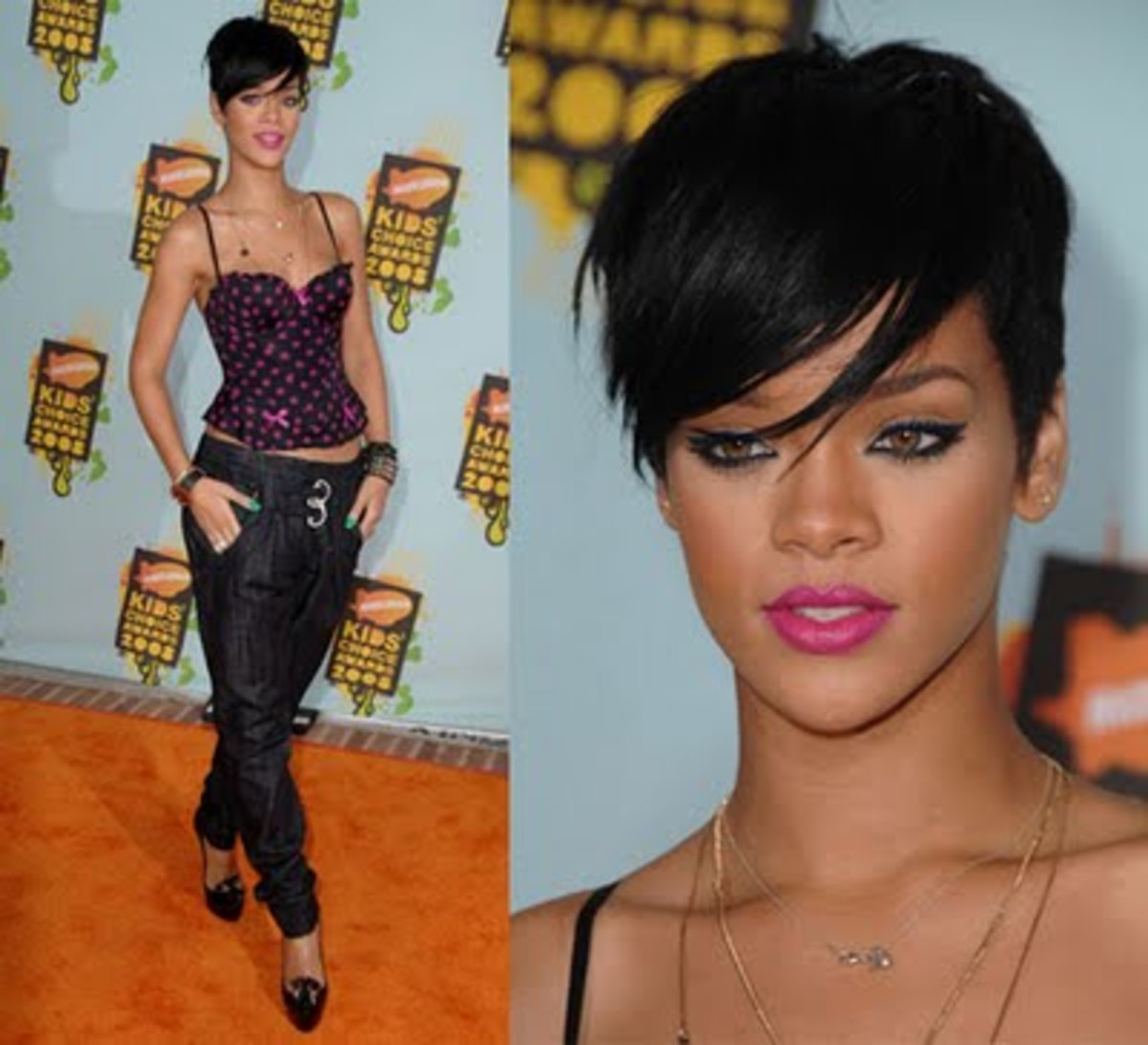 Here's Ri-Ri during her Chris Brown Drama. She was sporting this edgy mod look. I love this hair cut.