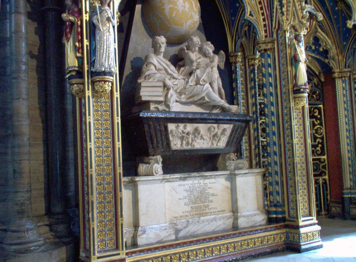TOMB OF ISAAC NEWTON IN WESTMINSTER ABBEY
