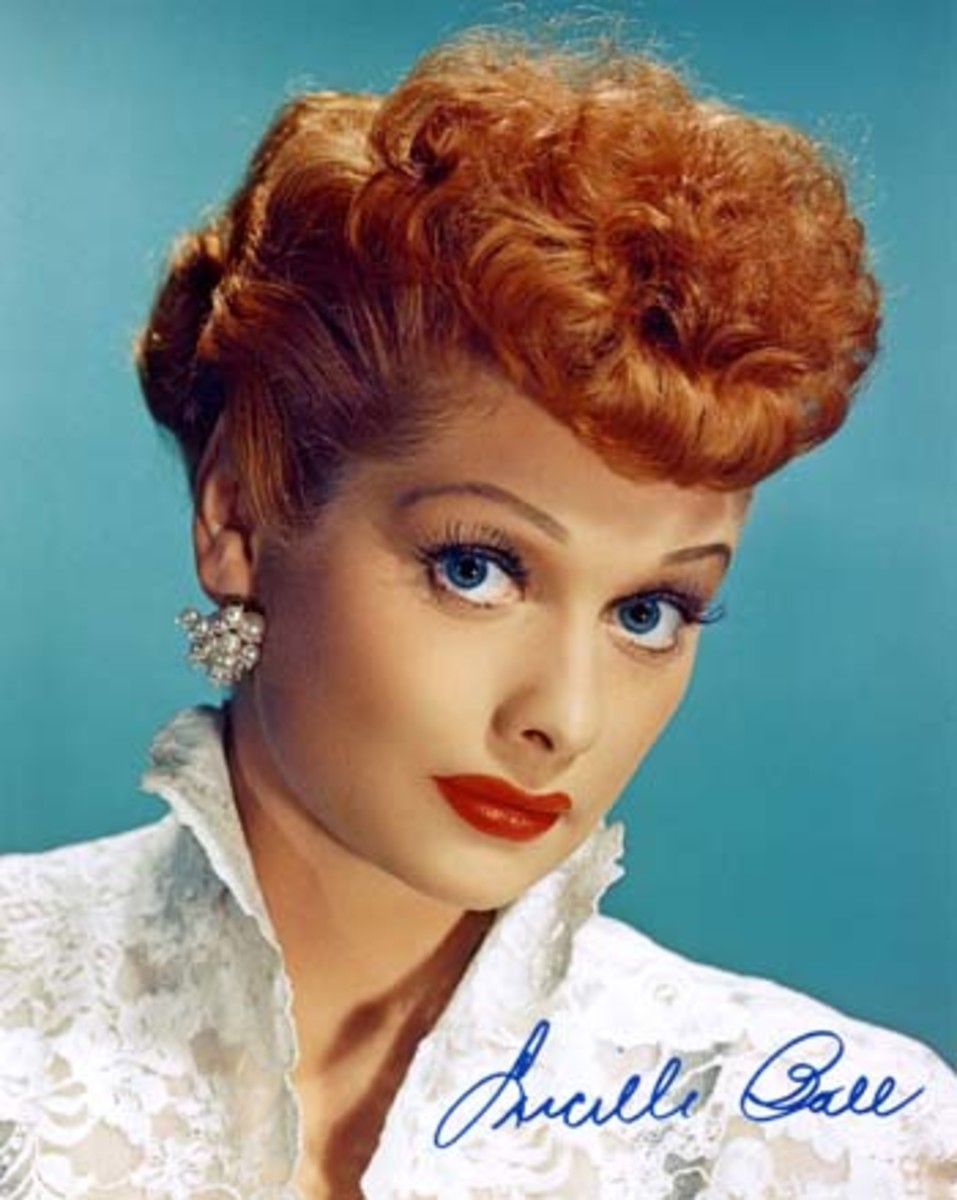 Lucille Ball and her poodle cut.