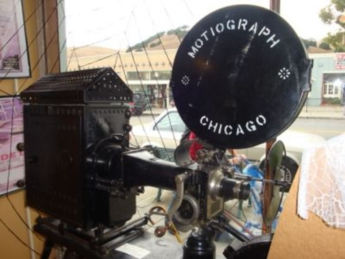 The motiograph was a 35mm silent film hand-cranked projector. Each reel of film ran for up to 10 minutes.