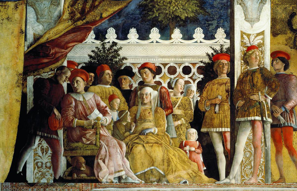 The Court of Mantua, a fresco by Andrea Mantegna. Tromboncino was raised in the court as the son of a musician and spent his early career there as a court musician himself.