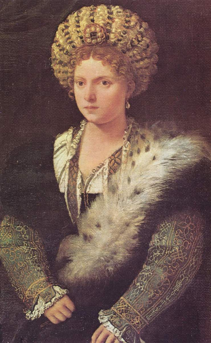 Portrait of Isabella d'Este by Titian. Considered a major patron of the arts in Renaissance Italy, Isabella wrote a letter describing the circumstances of the murder and appealing to her husband to pardon Tromboncino.