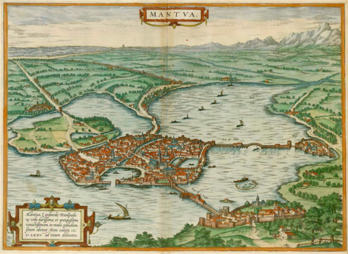 Map of Mantua, 1575. Tromboncino fled from Mantua permanently in 1501.
