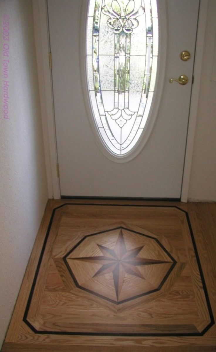 Intricate wood inlay -  flooring formal entrance