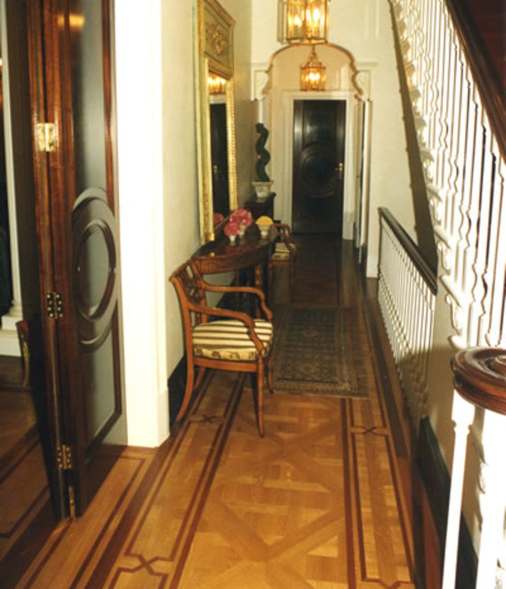 Decorative wood floor with border design - dark wood inlay