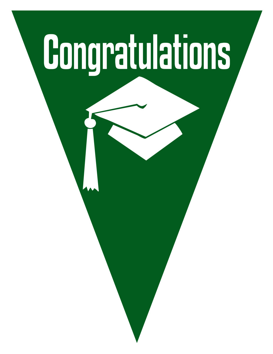 Graduation flag decoration -- green