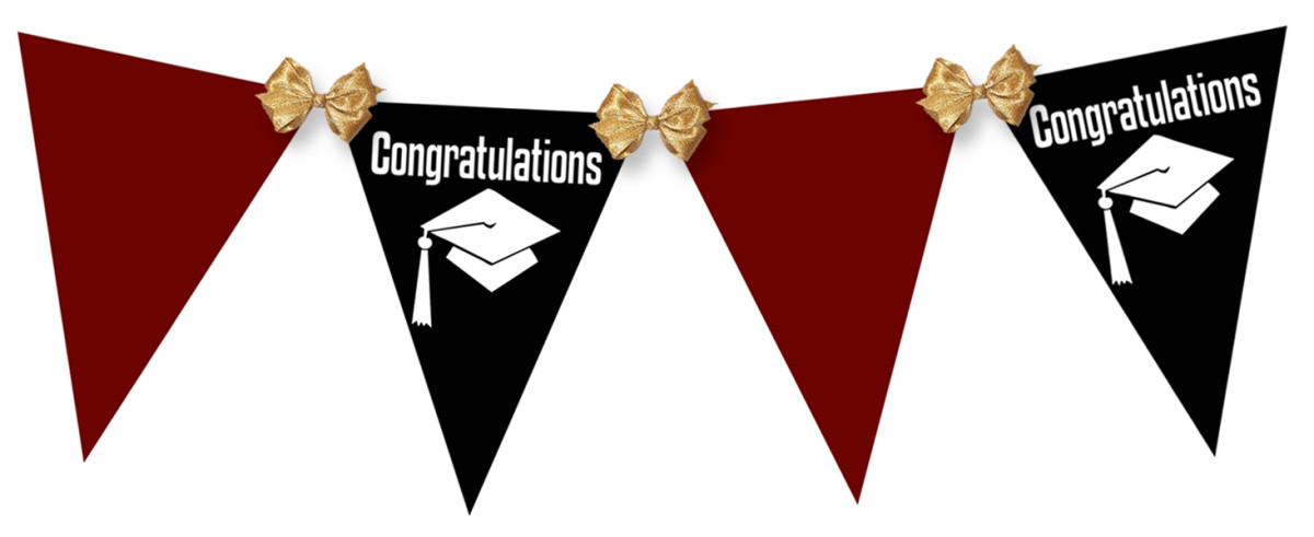 Example of graduation flags tied together with gold ribbons (click the image to see it larger)