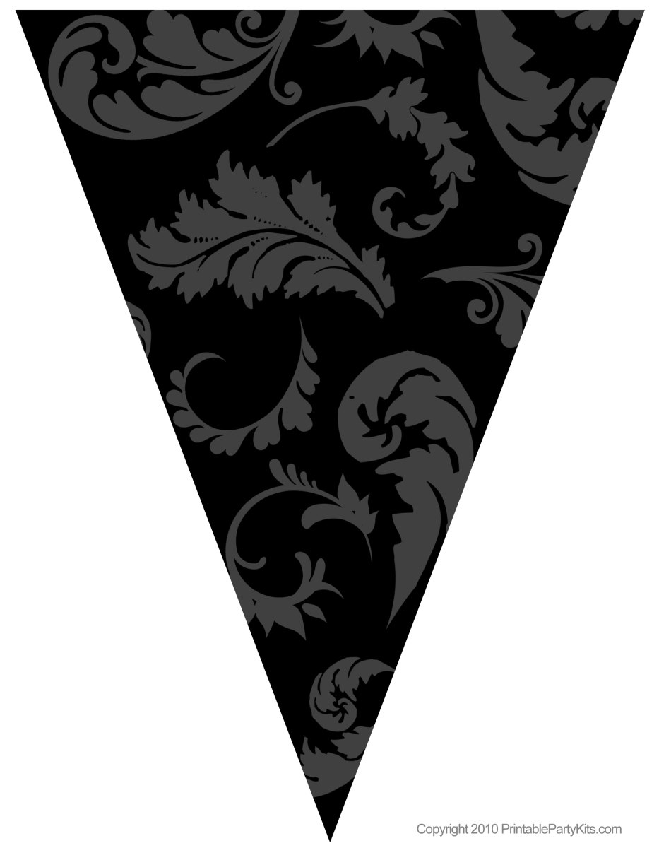 Printable black floral graduation flag