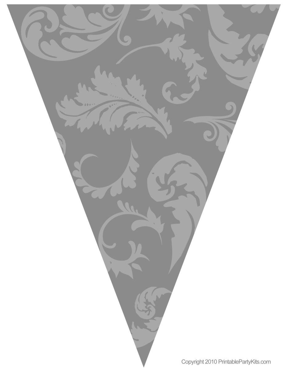 Gray floral graduation flag