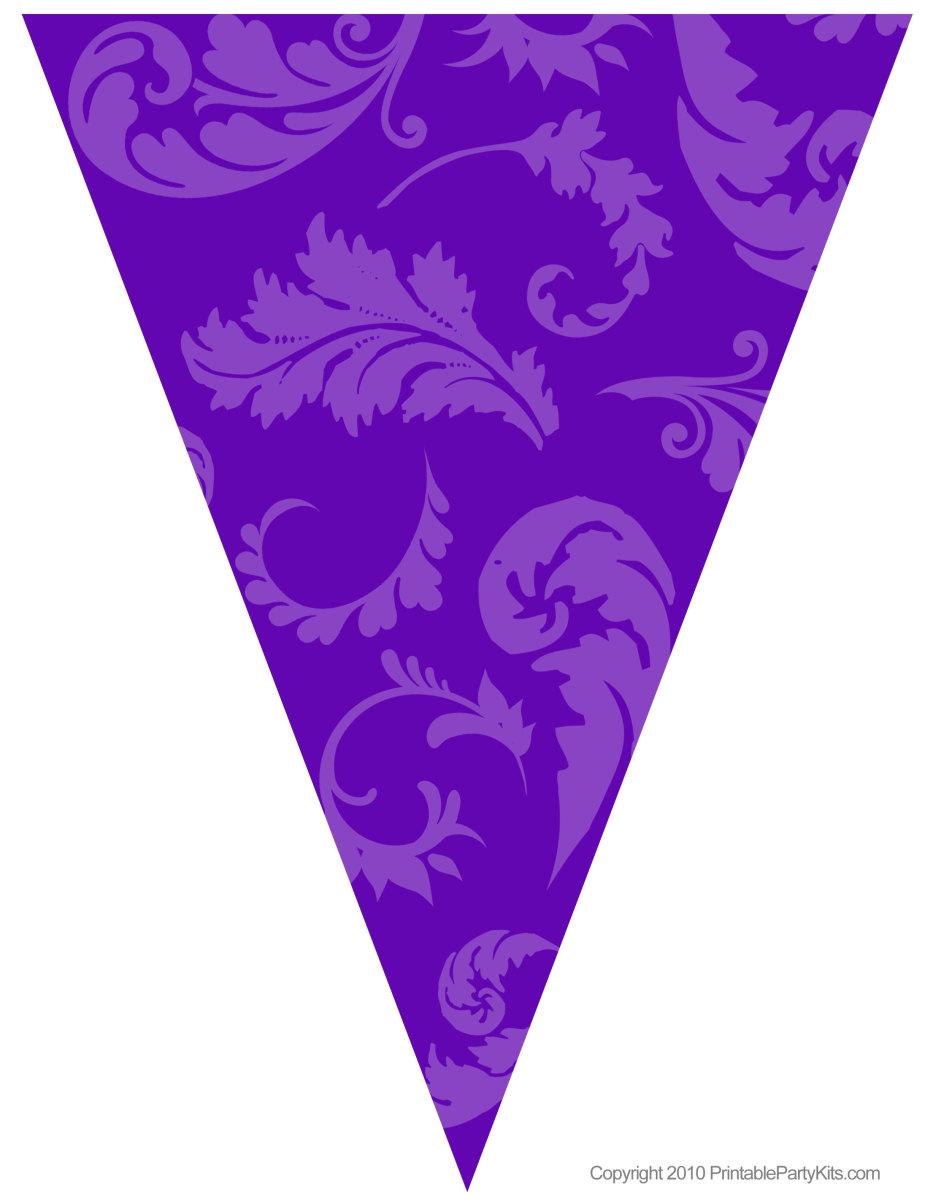 Printable purple floral graduation flag