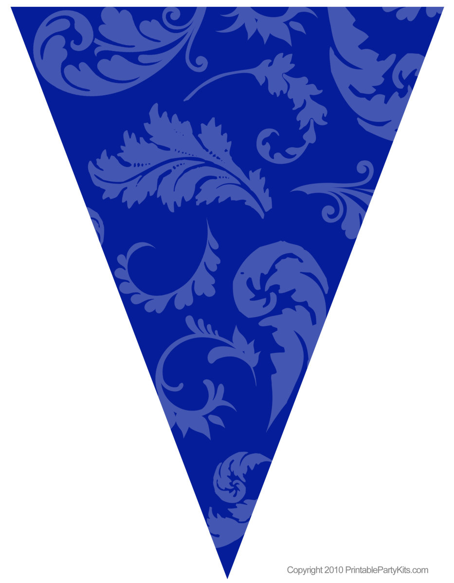 Blue floral graduation flag