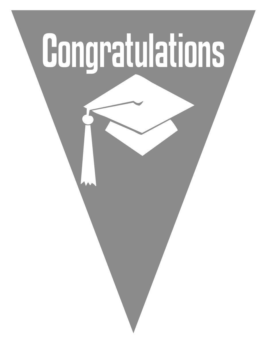 Graduation flag decoration -- silver gray