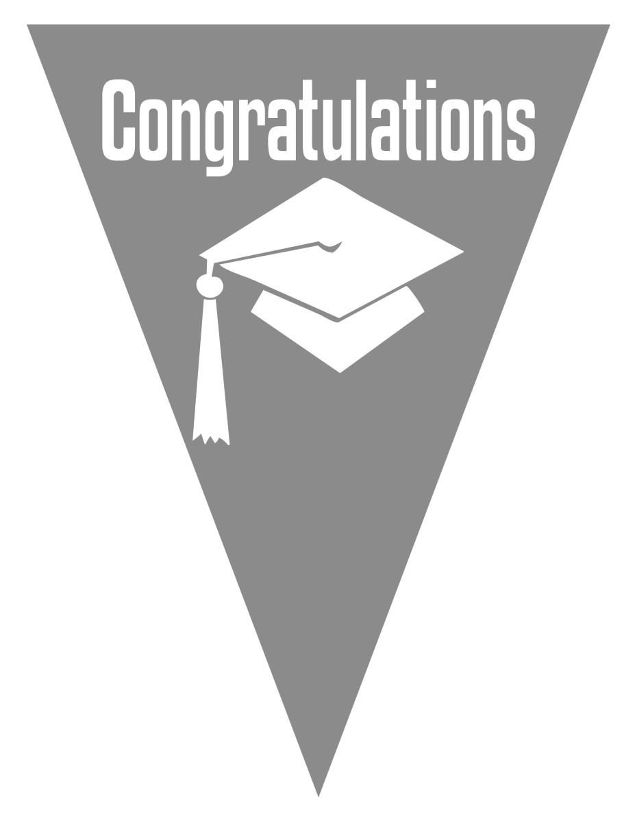Graduation flag decoration -- silver gray