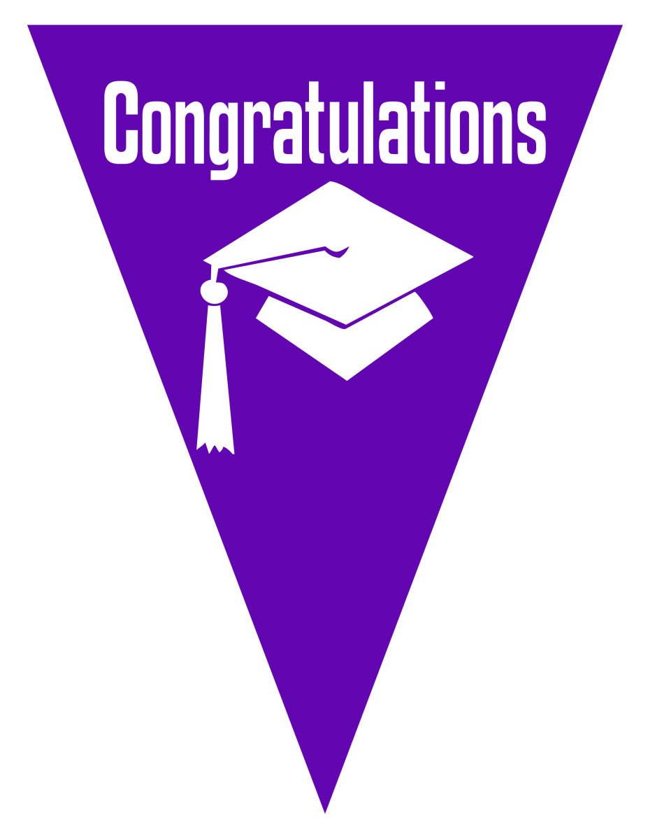 Graduation flag decoration -- purple