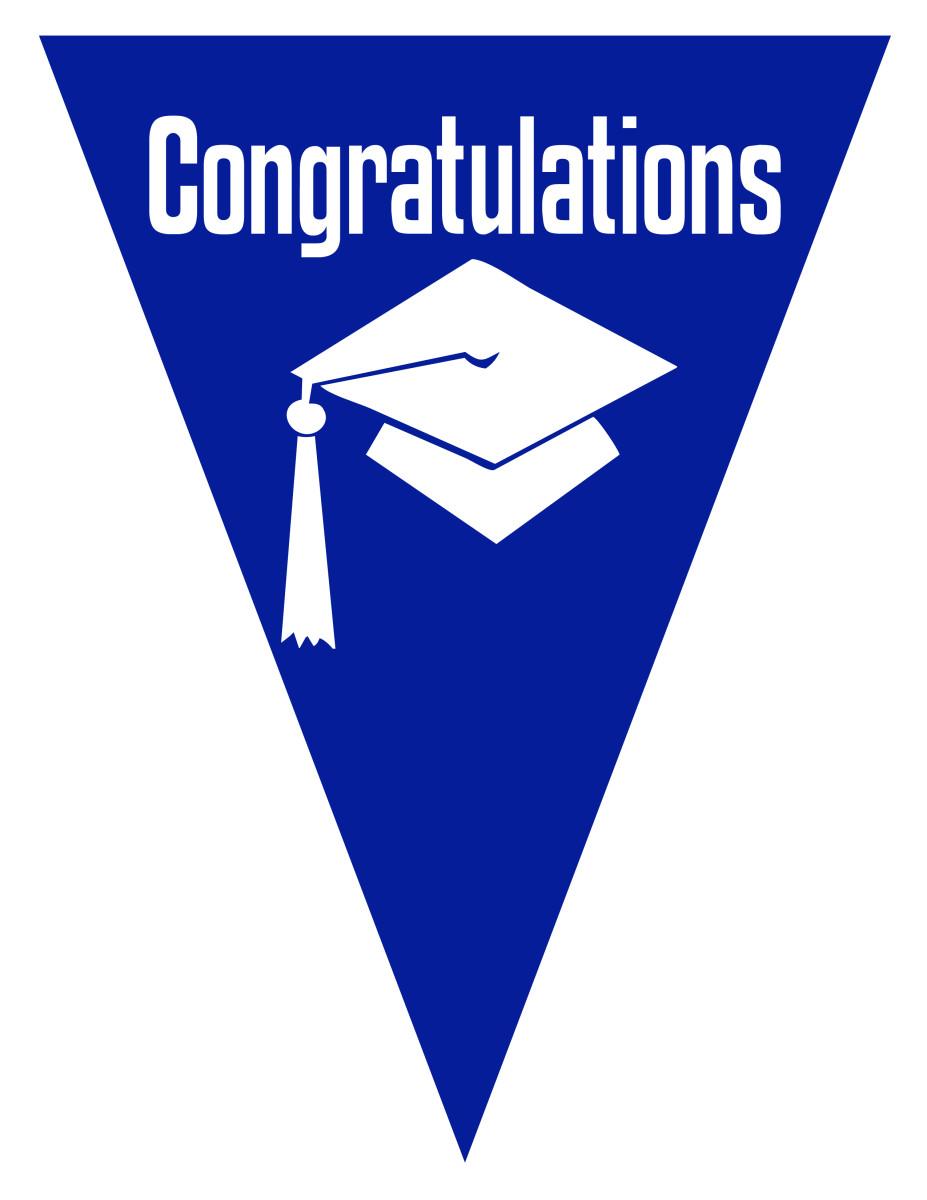 Free graduation flag decoration -- blue