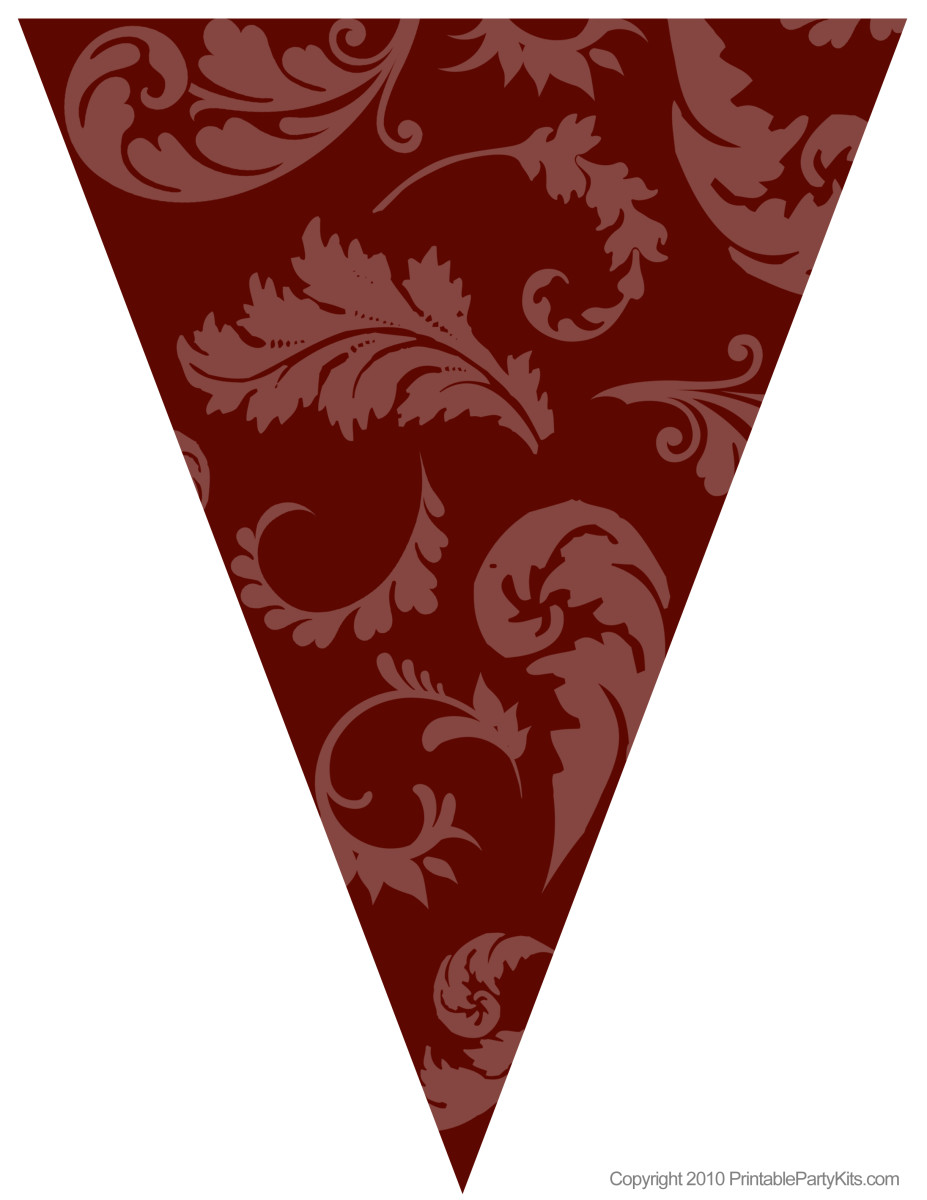 Printable brown floral graduation flag