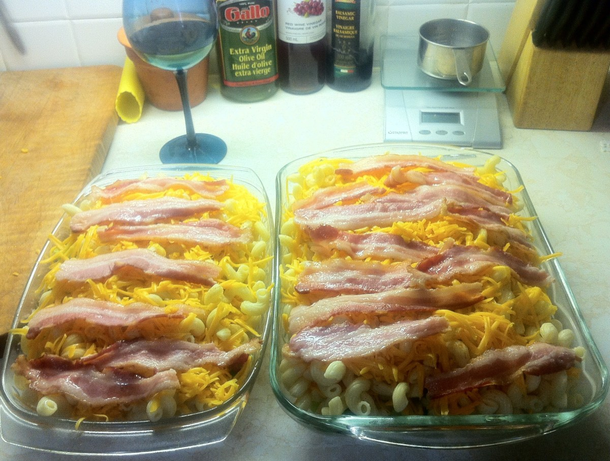 Now it is ready to put into the oven. Enjoying a glass of Chardonnay while I cook.