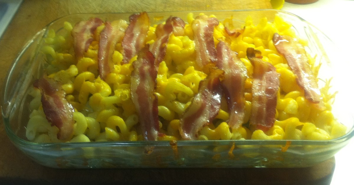 Macaroni and Cheese With Bacon, green peppers and onions.