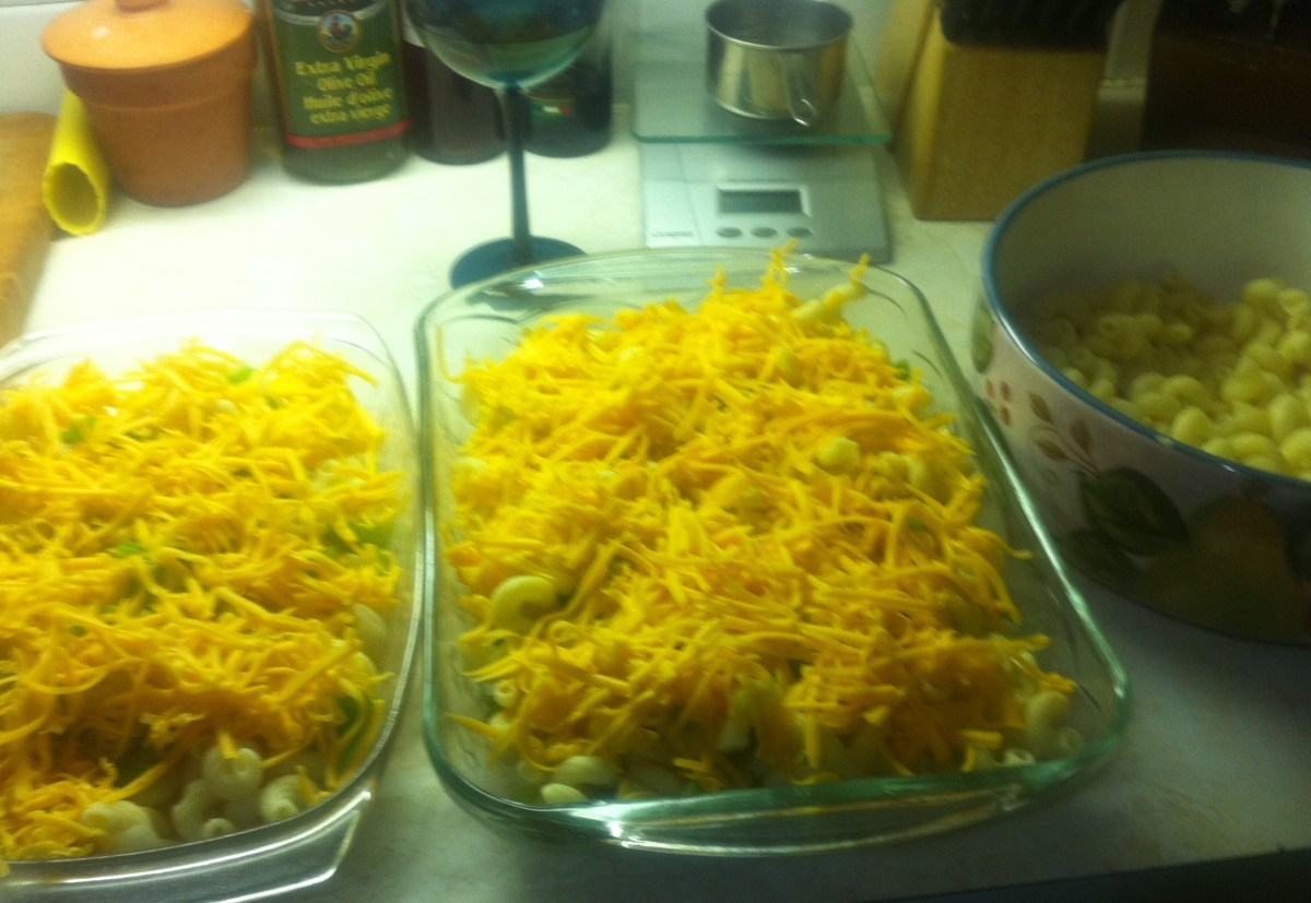 Add your cheese top with more noodles and cheese then add your bacon.