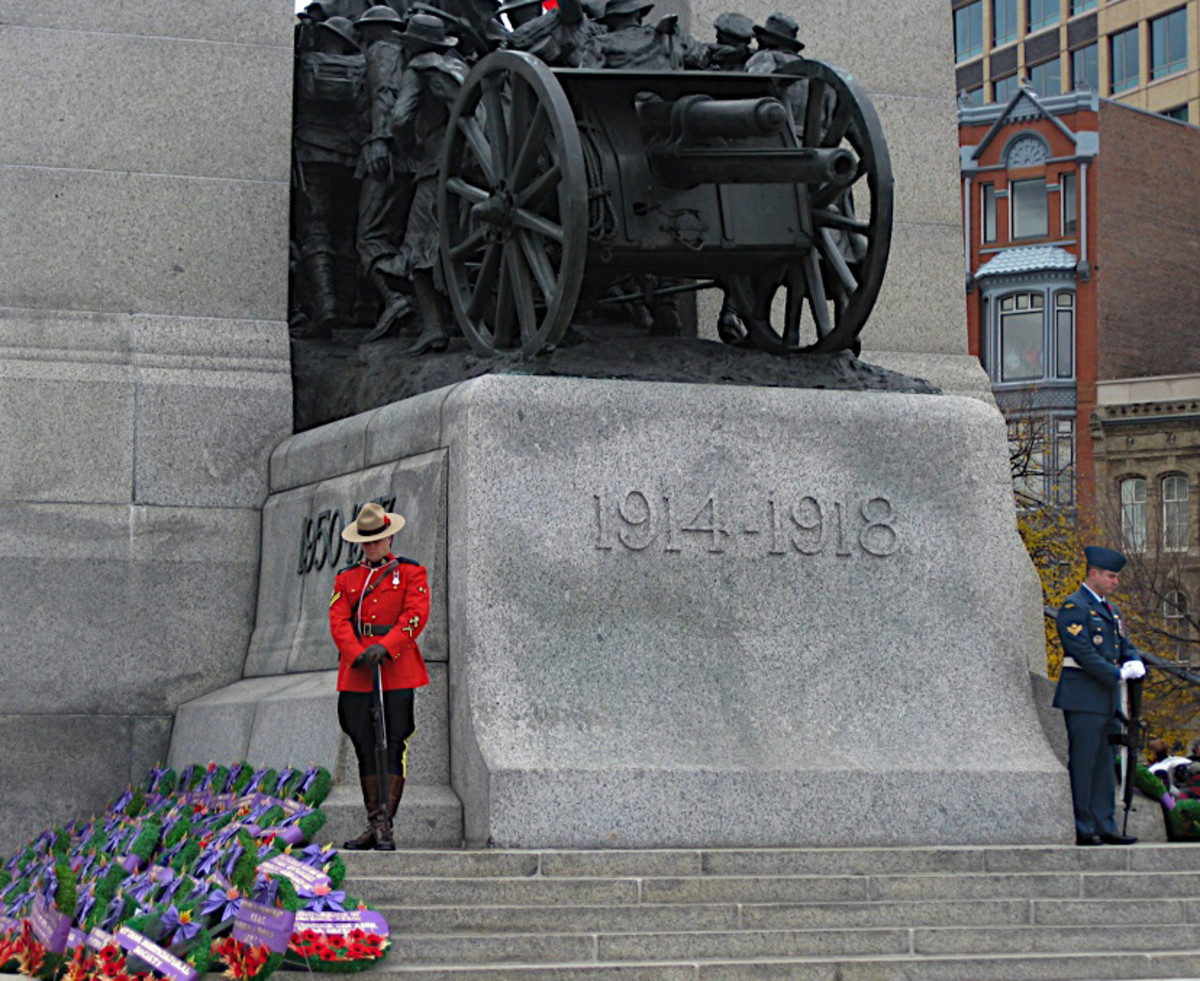 Standing post at the Cenotaph (War Memorial) on Parliament Hill, in Ottawa
