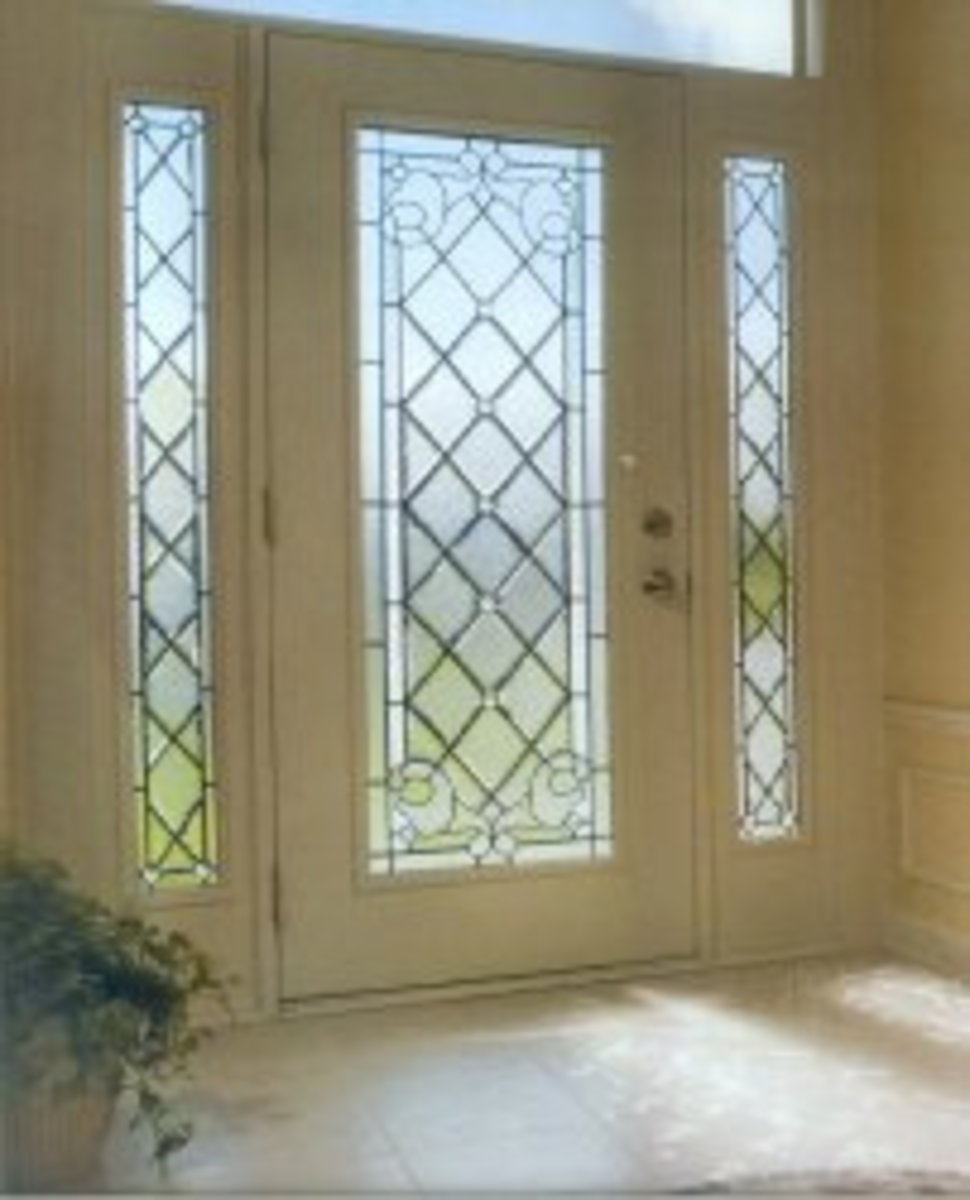 beautiful glass exterior entry door with diamond leaded glass