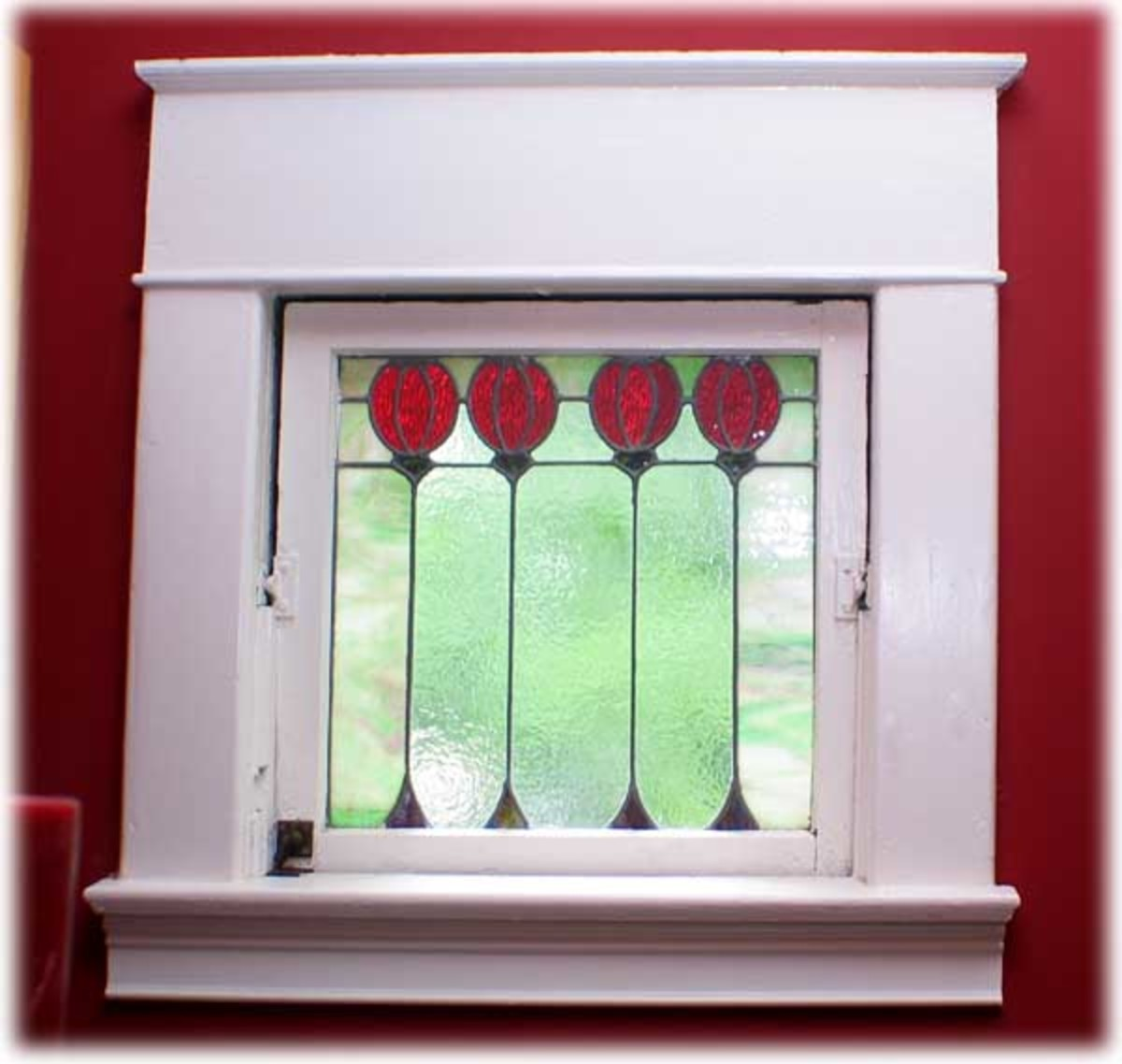 charming Victorian style leaded glass window with red