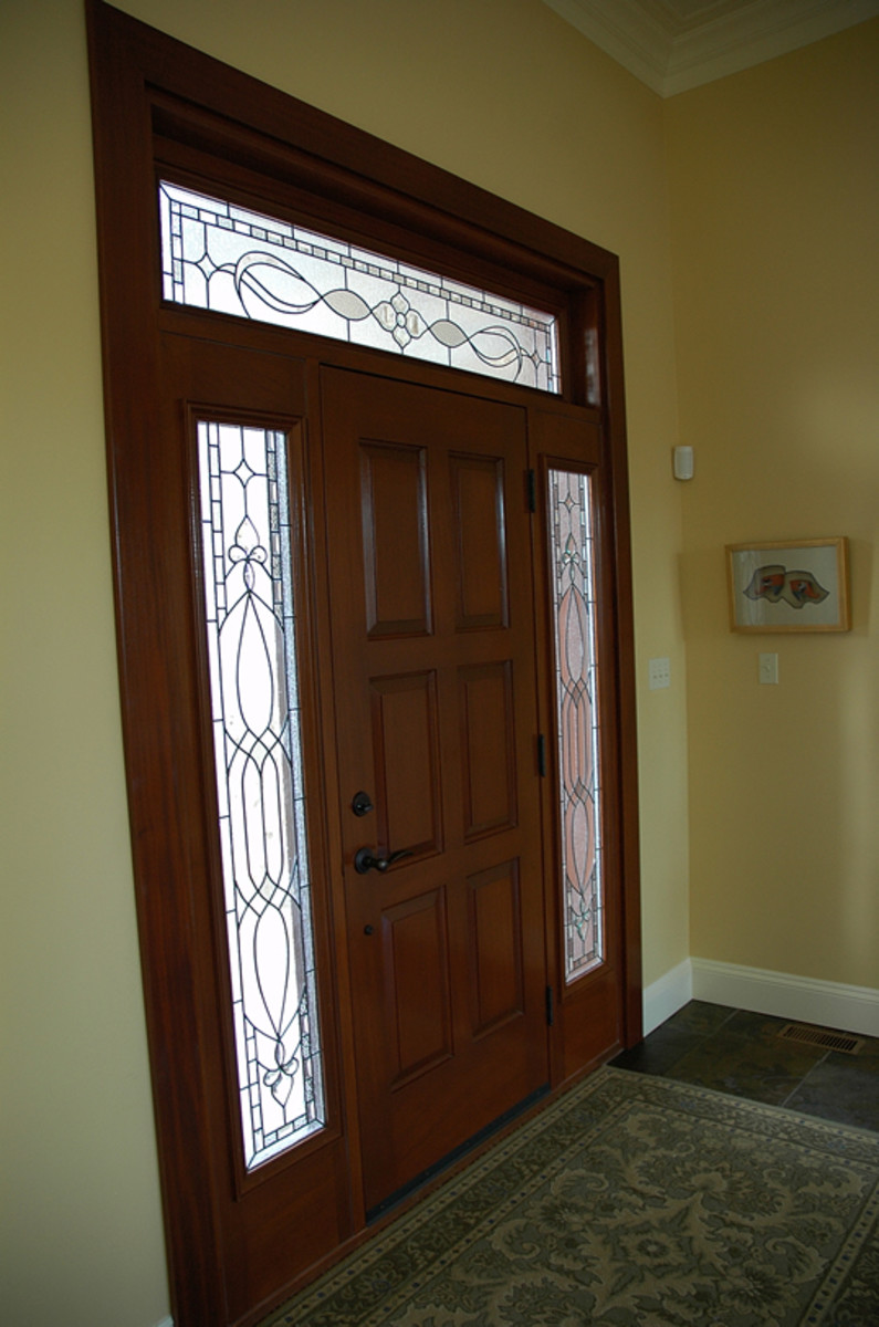 Traditional Exterior Glass Door With Transom And Sidelights