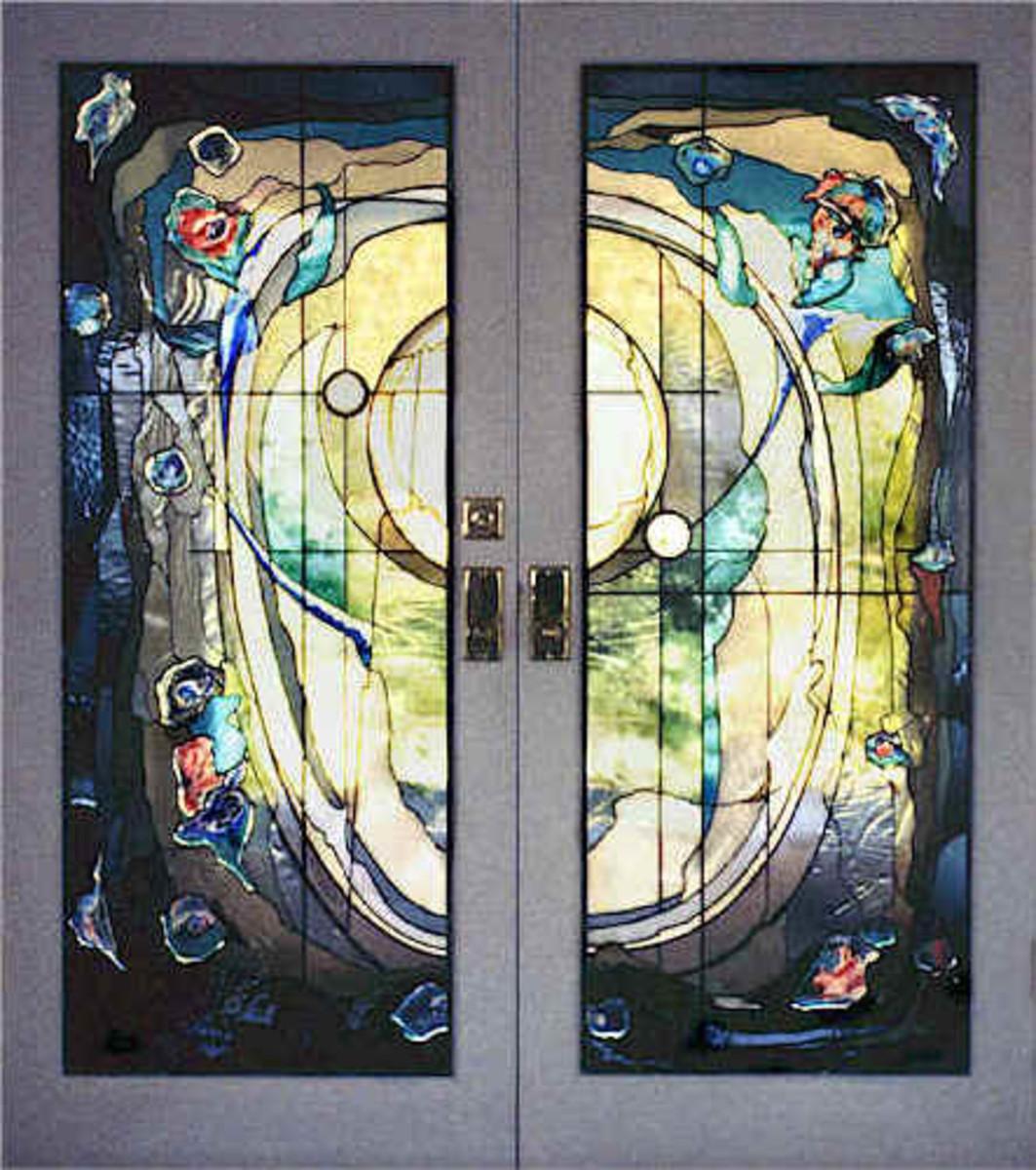 colorful glass exterior door - modern in artistic design