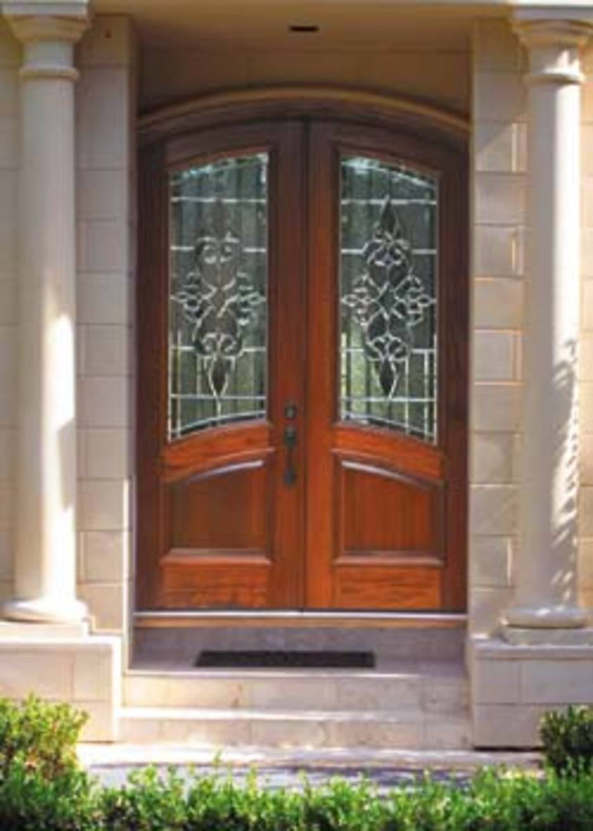 beautiful and elegant exterior door with leaded glass