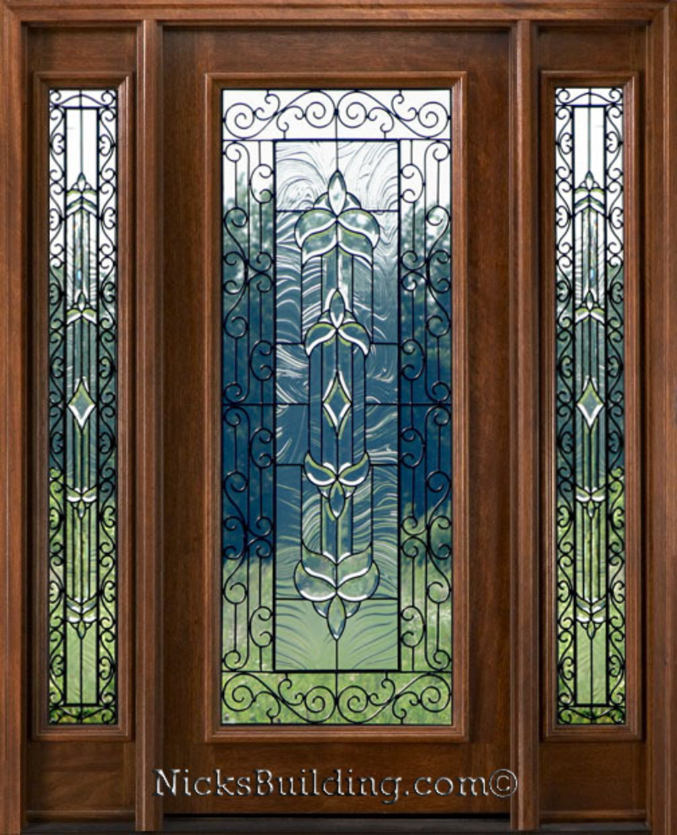 Mahogany glass exterior door with leaded glass