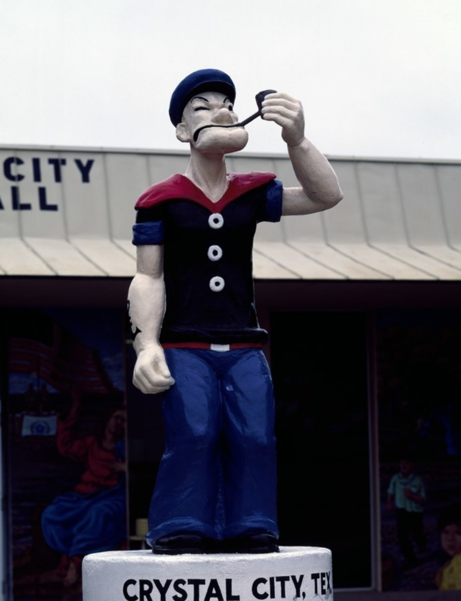 Popeye the Sailor Man is an apt symbol of the South Texas town near which huge spinach farms thrive. Crystal City, Texas