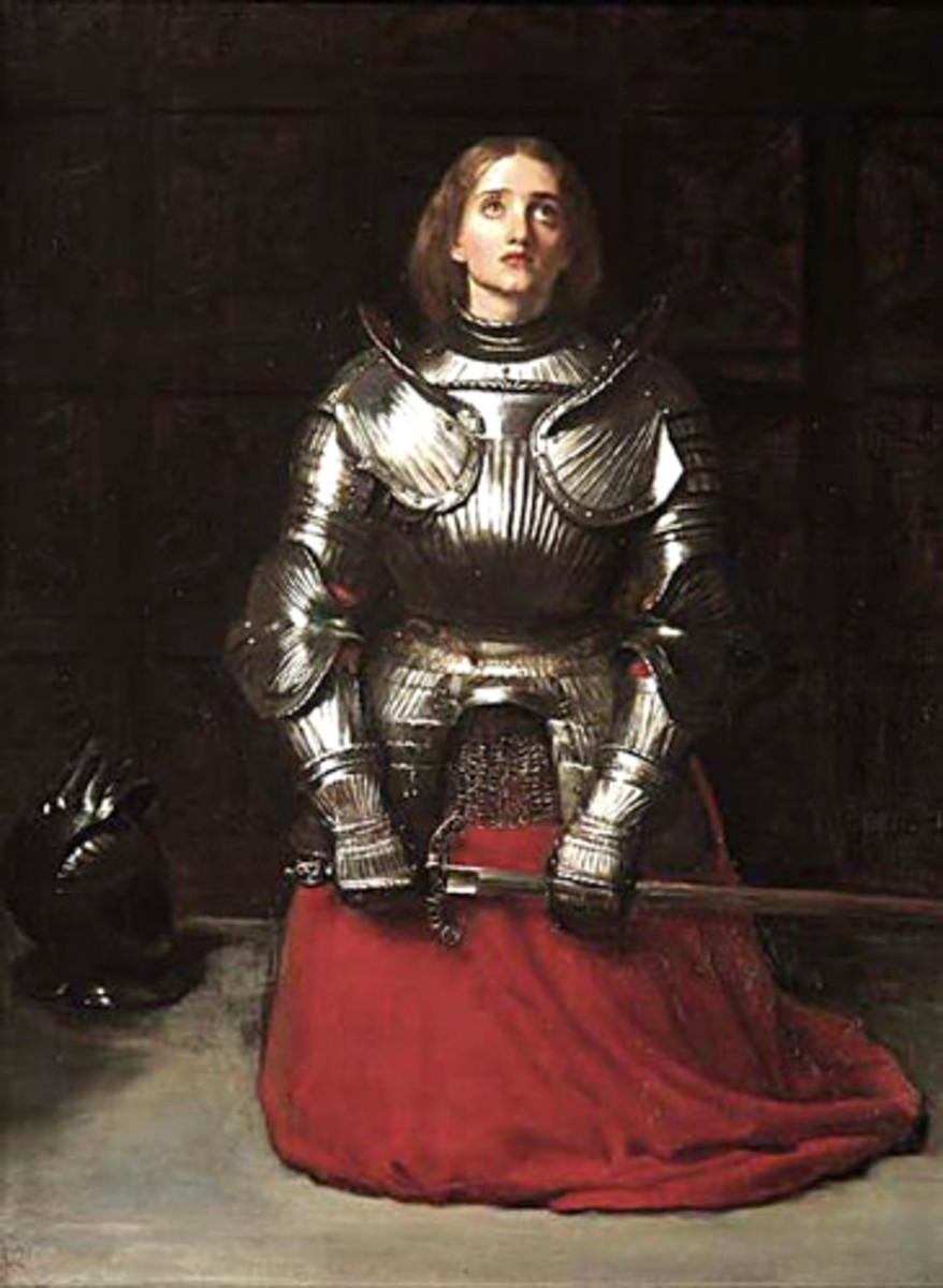 """Painting by Sir John Everett Millais of Joan of Arc painted in 1865 titled: """"Joan of Arc"""""""