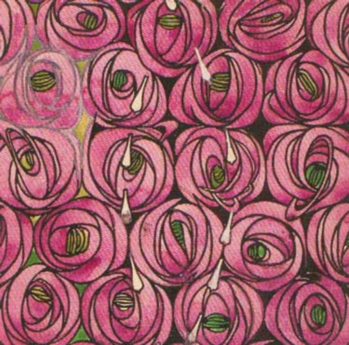Mackintosh Roses - these became a sort of logo for Mackintosh and were used in furniture design, murals, illustrations and on printed materials as well.