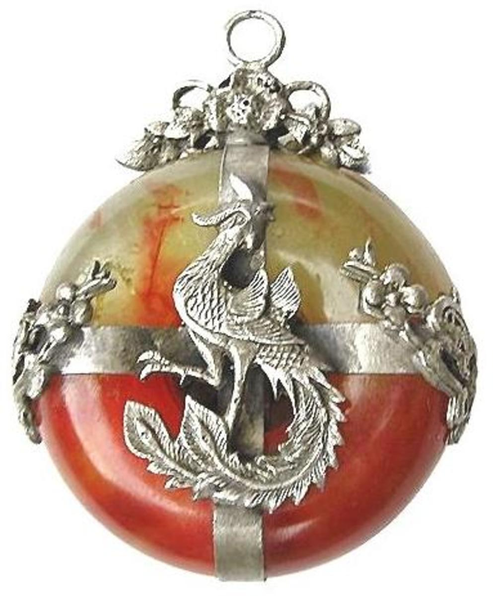 Red Jade Peacock Charm Pendant