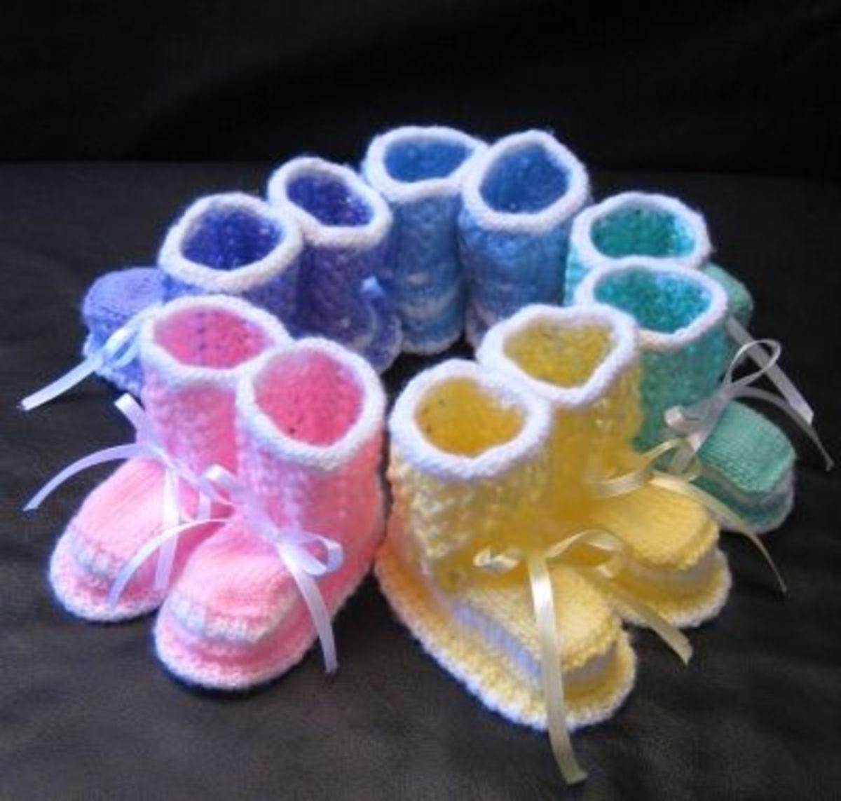 Baby booties in five pastel colors...