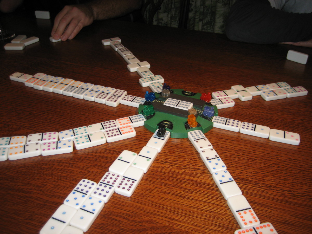 Late in a round of Mexican Train: The dominoes have piled up!