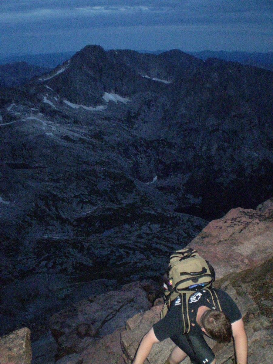 Early morning climb of Longs Peaks via the Keyhole Route.