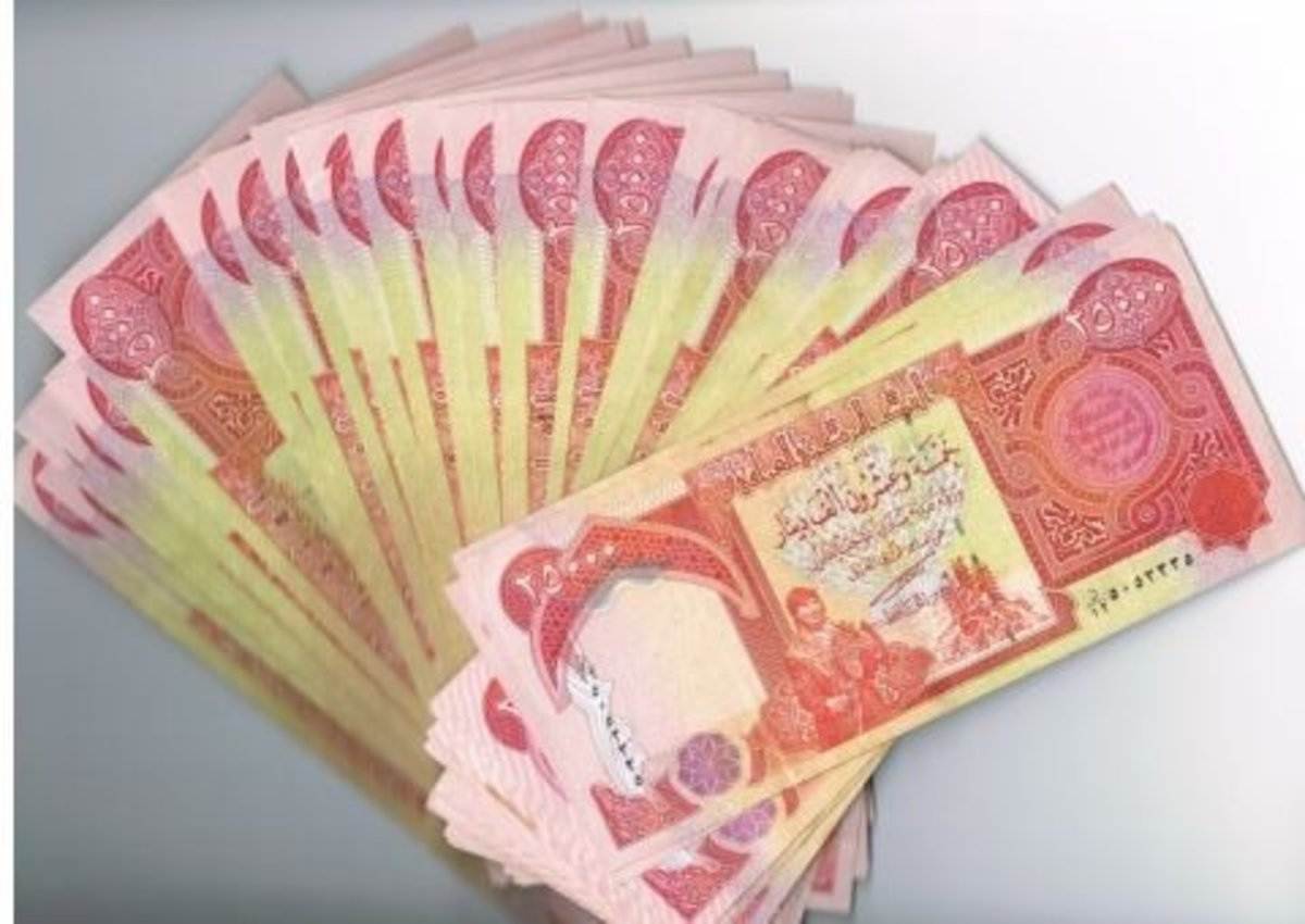 A fan of 25,000 Iraqi Dinar notes.