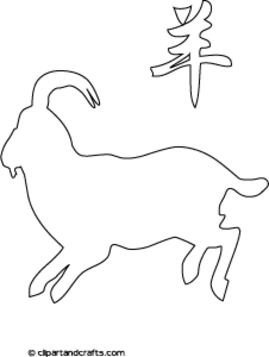Year of the Goat, Chinese Zodiac Line Art