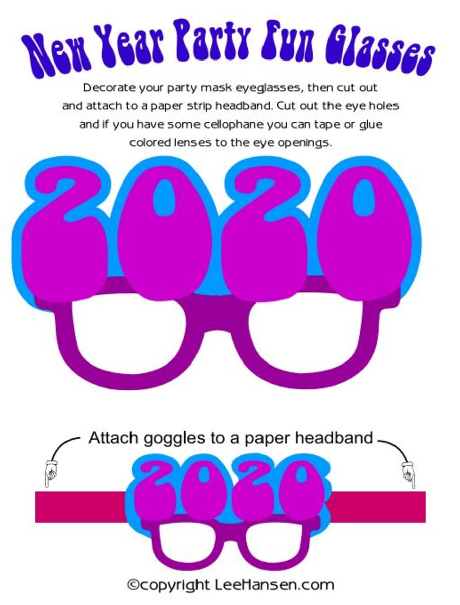 New Year's Eve Mask 2016 Eyeglasses Printable Paper Craft Activity Sheet