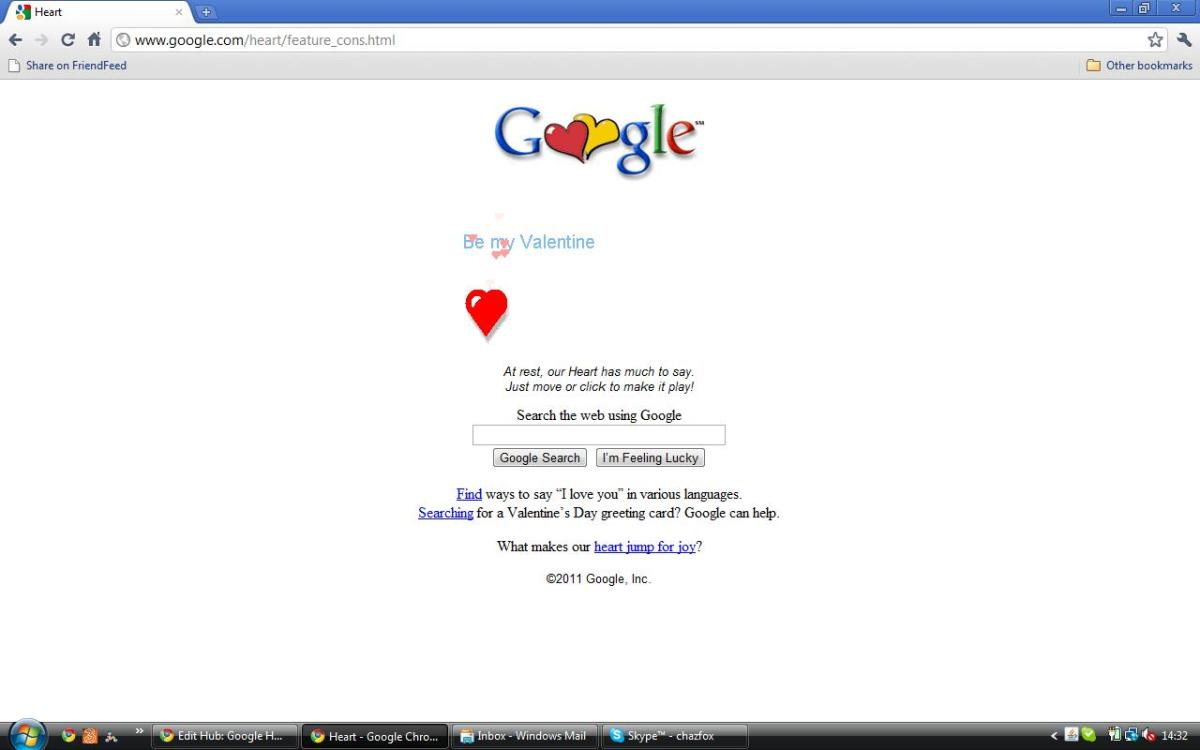 Google Heart: Googles Valentines Day Hearts Search Homepage: I Love You