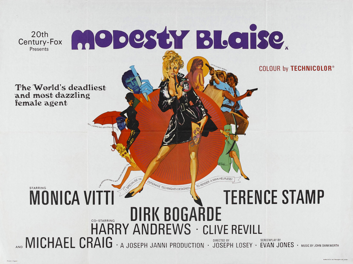 Modesty Blaise (1966) starring Monica Vitti in the eponymous role, Terence Stamp as Willie Garvin and Dirk Bogarde as the villain