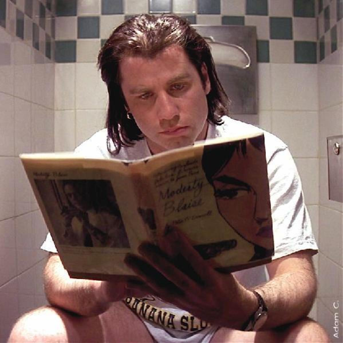 Vincent Vega reading Modesty Blaise in a memorable scene from Pulp fiction