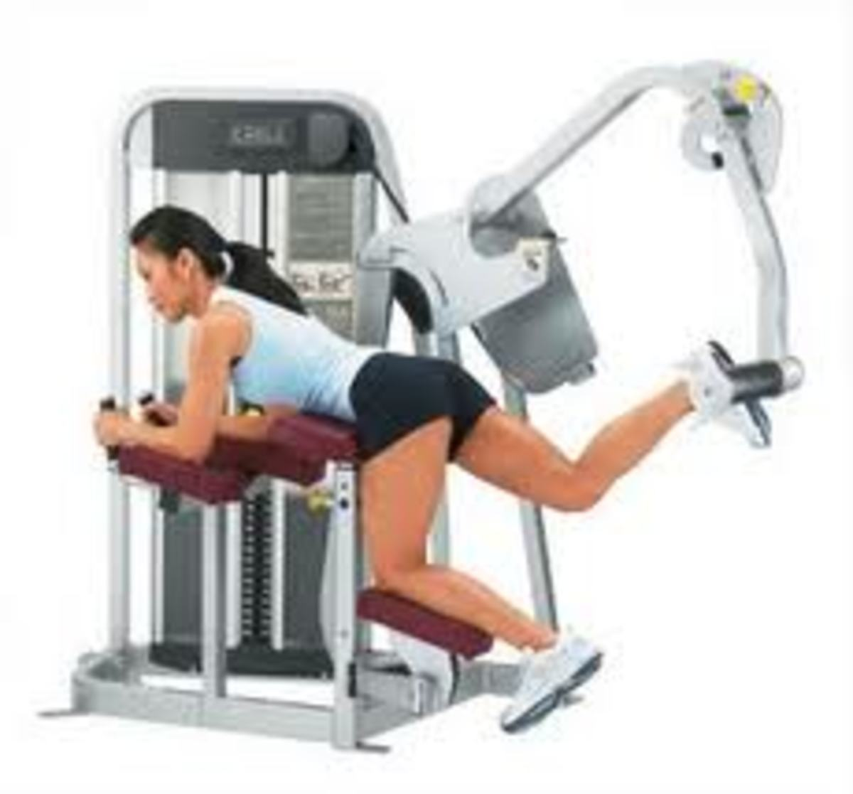 Fitness Machine that Target the Derrière with brunette girl demonstration