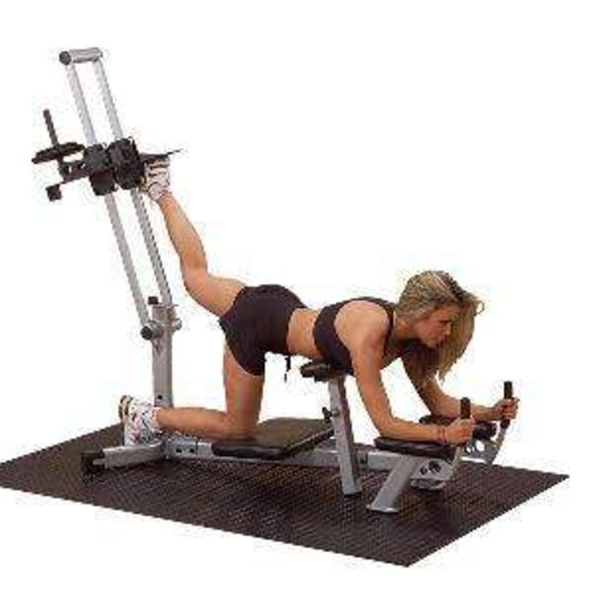 Exercuse machine that Target the Derrière with blond lady demonstrating