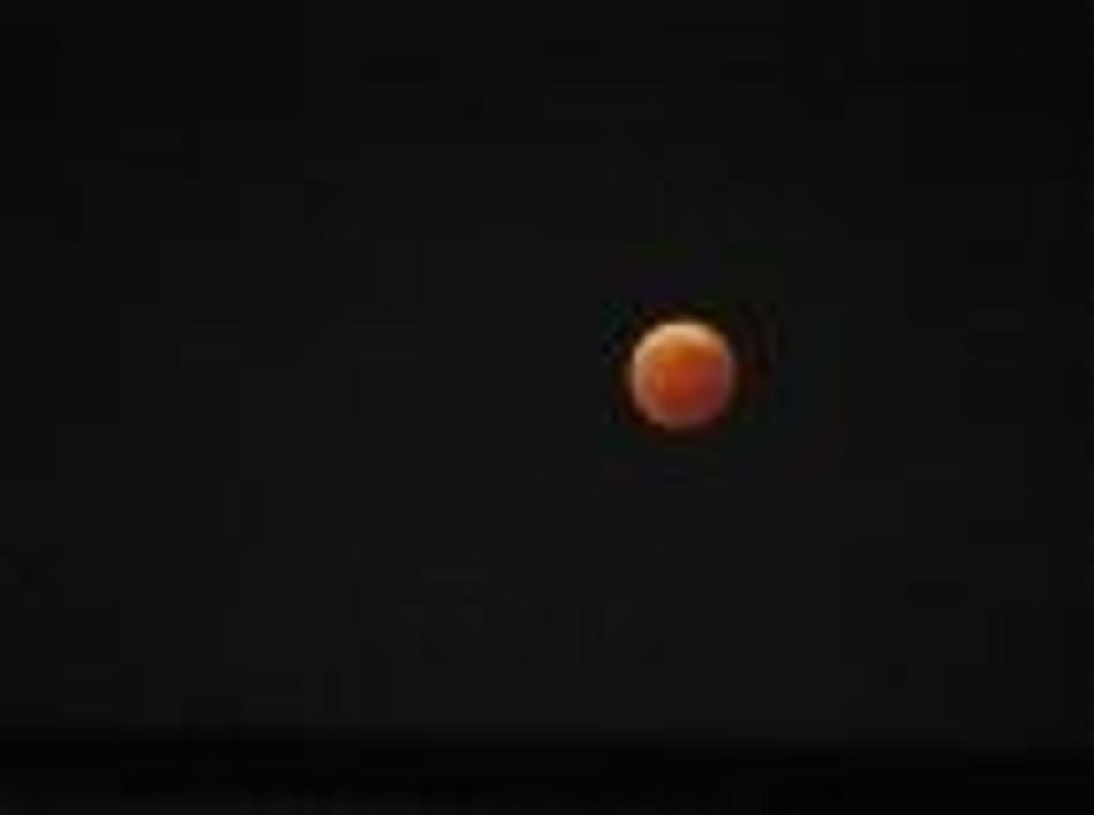 """Lunar eclipse, which my son described as looking like """"a barbecue-flavored potato chip."""""""